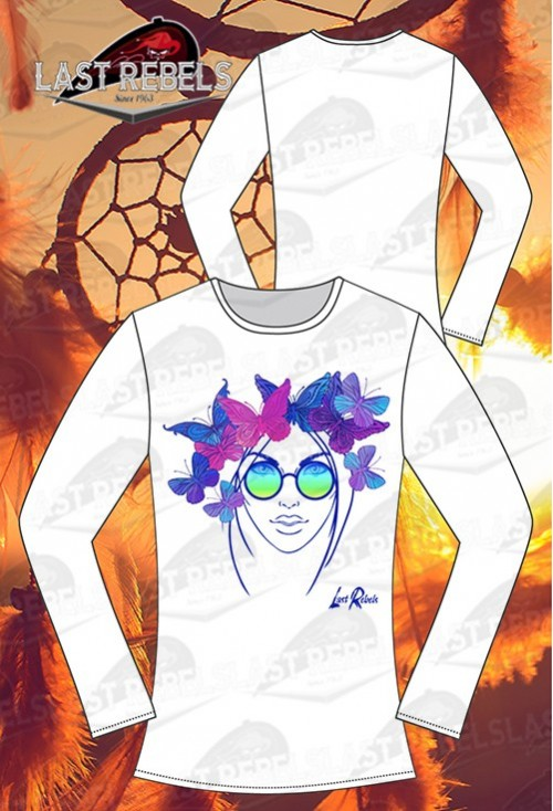 0f716bea788 T-shirt manches longues femme sixties baba cool