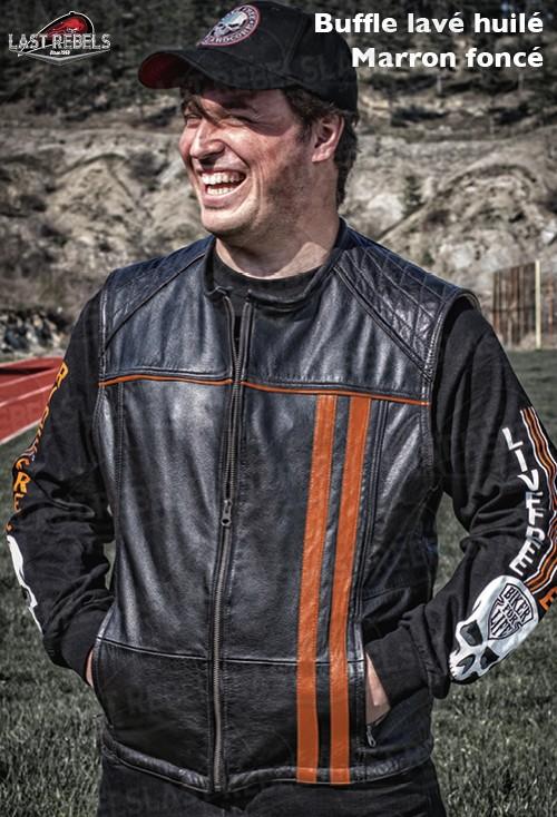Bikers country grande taille Gilet Jacket en Cuir de Vachette AVEC lacets