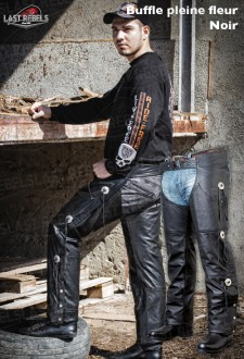 Motorcycle Chaps buffalo leather black color