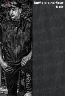 Gilet avec franges homme cuir buffle pleine fleur noir