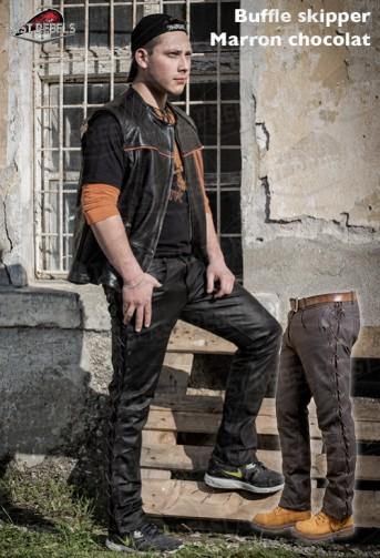 Pantalon avec lacets homme cuir buffle skipper marron