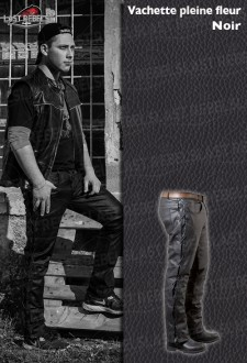 Laced leather trousers for man cow leather black color