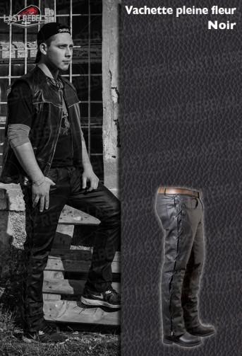 Pantalon avec lacets homme cuir vachette pleine fleur noir