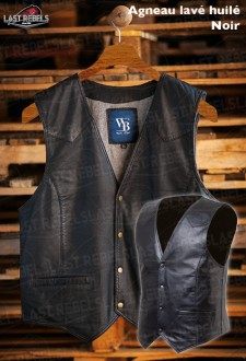 Sheep leather Waistcoat black color