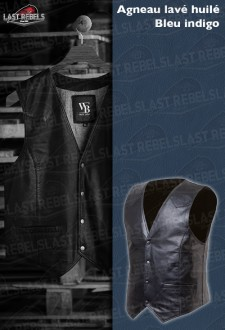 Indigo blue leather Waistcoat  MAN 01 sheep leather