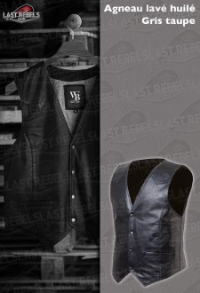 Dark grey leather Waistcoat sheep leather