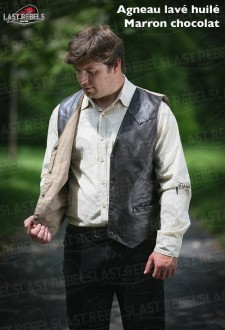 Sheep leather Waistcoat MAN 05 with back in cotton brown color