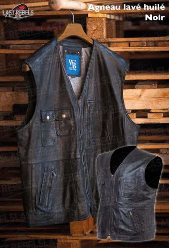 Gilet multi poches homme cuir agneau lavé huilé noir