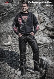 Pantalon coupe jeans homme cuir vachette pleine fleur noir