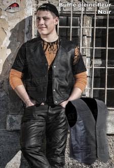 Black Leather Waistcoat NORT,buffalo leather