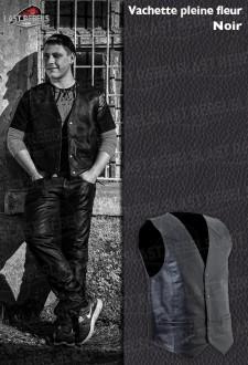Gilet homme cuir vachette pleine fleur noir