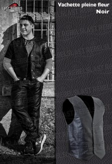 Leather Waistcoat NORT black Cow leather
