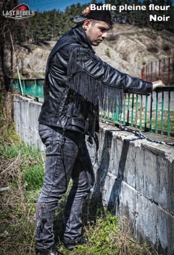 Blouson avec franges homme cuir buffle pleine fleur noir