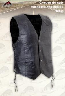 Gilet croûte de cuir homme avec lacets noir