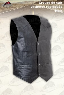 Motorcycle Leather Waistcoat classic style, split leather