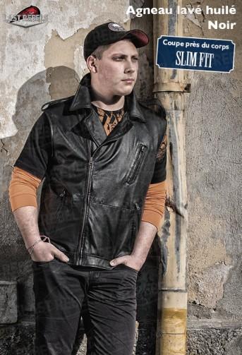 Gilet homme style perfecto cuir agneau lavé huilé noir