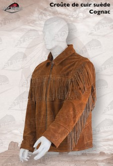 Suede fringe jacket ALABAMA for man cognac color