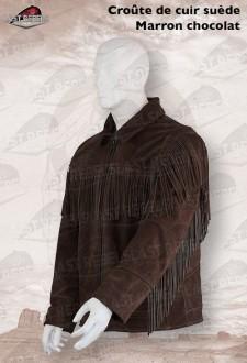 Chaqueta ante con flecos ALABAMA corteza cuero marrón