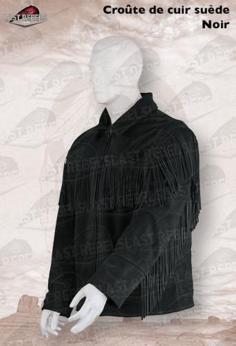 Veste à franges  homme croûte de cuir vachette velours noir