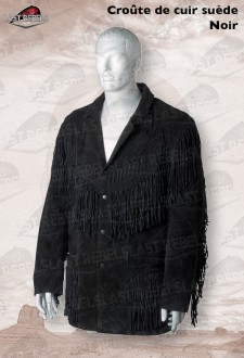 Suede fringe jacket GRIZZLY for man black color