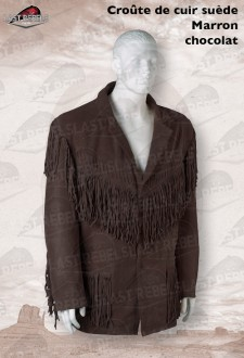 Suede fringe jacket GRIZZLY for man brown color