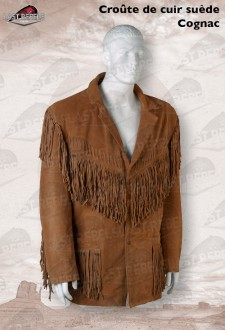 Suede fringe jacket GRIZZLY for man cognac color