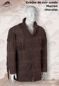 Veste à franges  homme croûte de cuir vachette velours marron chocolat