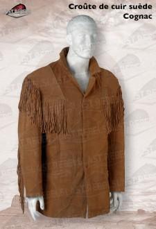 Veste à franges  homme croûte de cuir vachette velours cognac