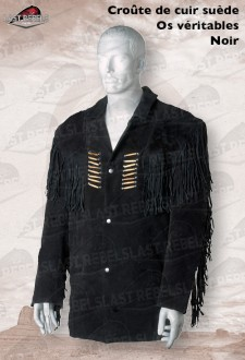 Suede fringe jacket SIOUX with bones for man black color
