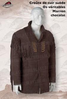 Veste à franges et os  homme croûte de cuir vachette velours marron chocolat