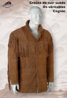 Suede fringe jacket SIOUX with bones for man cognac color