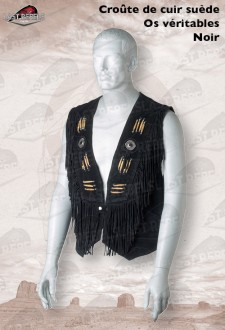 Black Fringed leather Waistcoat with bones cow suede leather