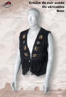 Chaleco con flecos y hueso corteza de cuero vaqueta ante negro