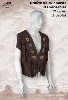 Brown Fringed leather Waistcoat split cow suede leather