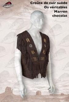 Gilet à franges et os  homme croûte de cuir vachette velours marron chocolat
