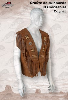 Cognac Fringed leather Waistcoat split cow leather with bones