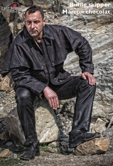 3/4 australien cuir homme buffle skipper marron