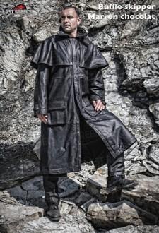 Manteau australien cuir homme buffle skipper marron