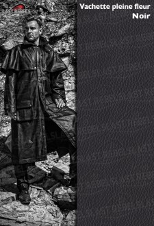 Manteau australien cuir homme vachette pleine fleur noir