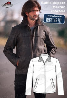 Leather jacket buffalo skipper, brown color for man