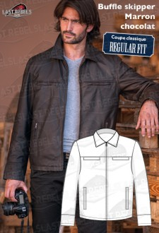 Veste cuir homme buffle skipper marron