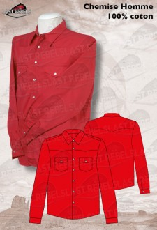 Chemise Country rouge - Manches longues