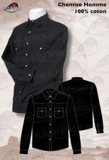 Camisa country hombre manga larga 100% algodón negro