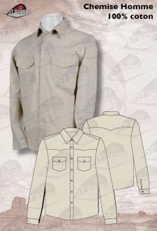 Camisa country hombre manga larga 100% algodón beige