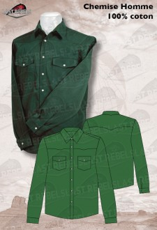 Chemise Country verte - Manches longues