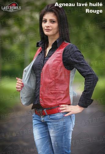Gilet femme dos coton  cuir agneau lavé huilé rouge