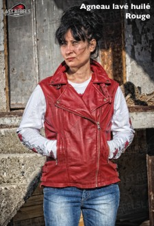 Sheep leather Vest type Perfecto WEST red color for woman