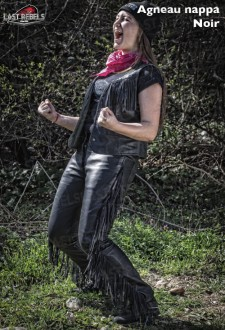 Pantalon avec franges coupe jeans femme cuir agneau nappa noir