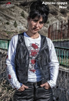 Fringed leather Waistcoat SQUAW sheep leather black color