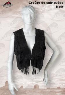 Gilet avec franges femme croûte de cuir vachette velours noir